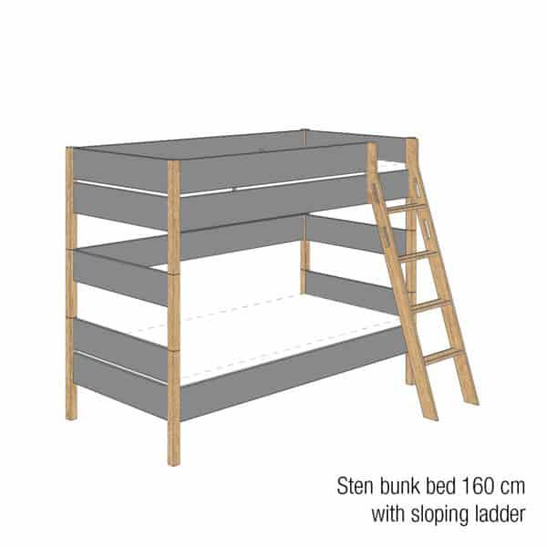 Sten bunk bed 160cm (Trendy grey)