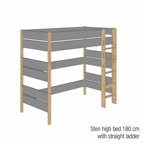 Sten high bed 180cm (Trendy grey)