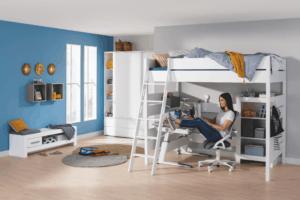 Tiago High Bed 180cm high with slanting grip ladder